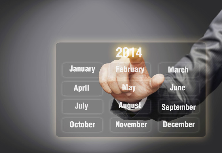 image of man controlling a 2014 calendar