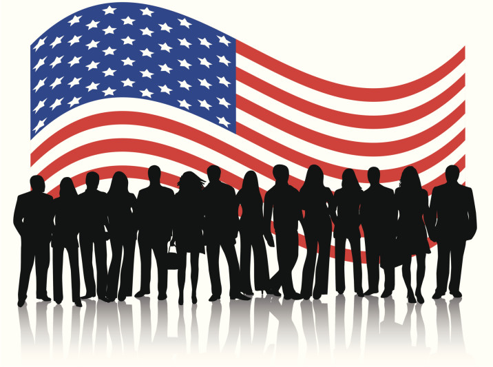 image of United States flag with business people