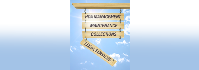 image of HOA services sign with legal services offering falling off