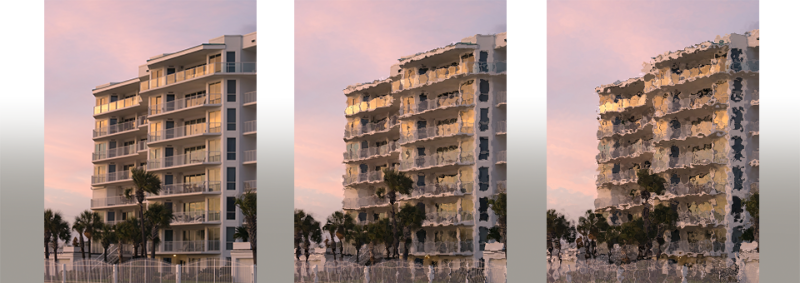 stock image of beach condos repeated with increased distortion of image to represent condos with damages over time-construction liability
