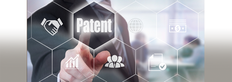 image of businessman touching patent graphic